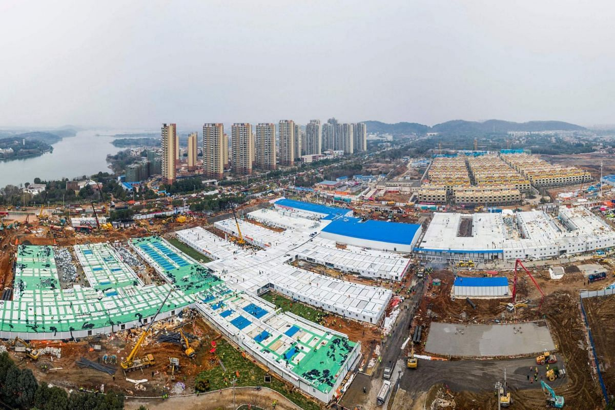An aerial photo taken on Feb 2, 2020, showing the Huoshenshan Hospital after it was handed over to China's army in Wuhan, Hubei province.