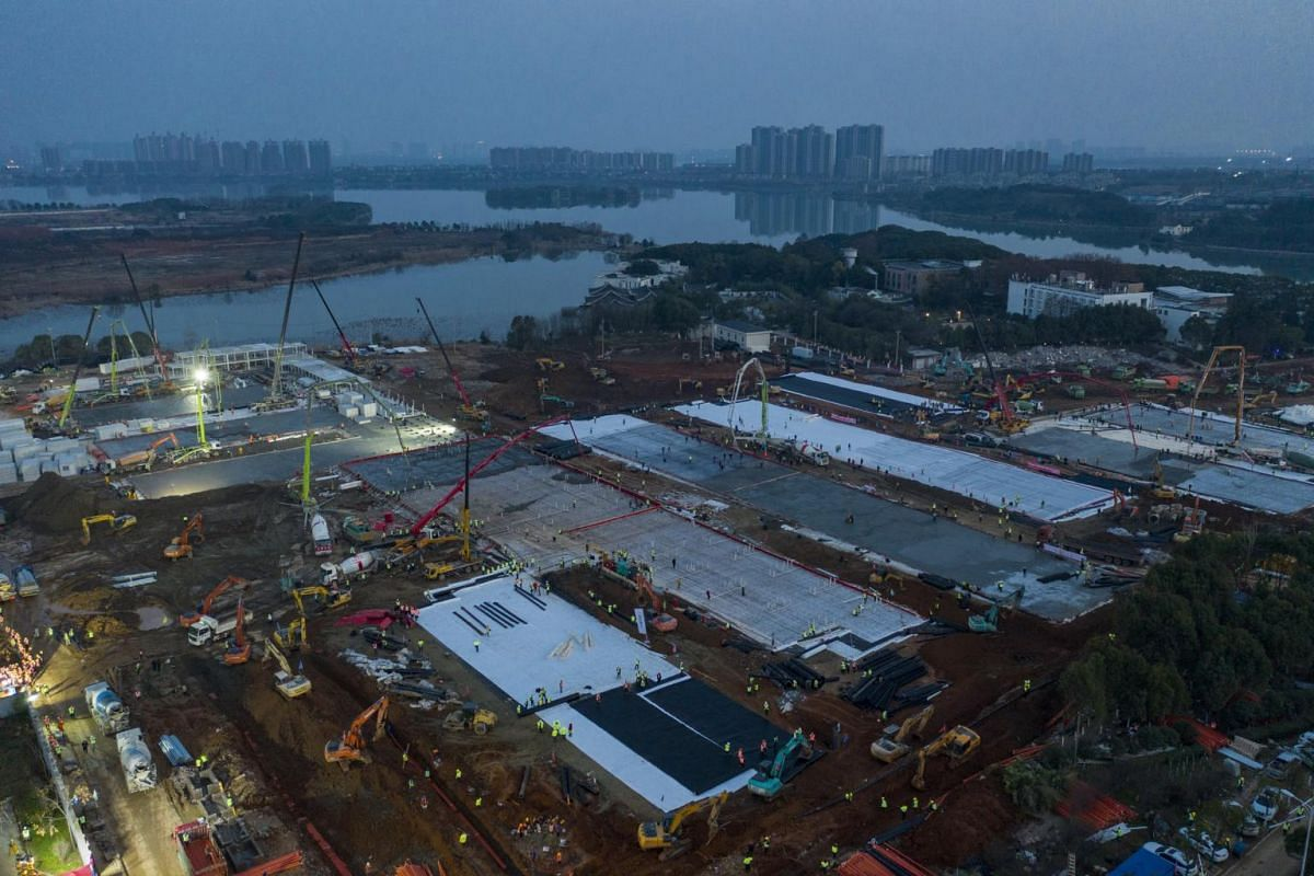 A general aerial view of the construction site on Jan 28, 2020. China's official CCTV broadcaster livestreamed the work so people can watch the hospital being built in real-time - and they have proved to be an unlikely hit.