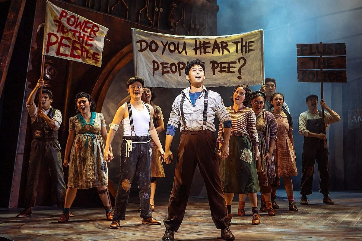 Actor Benjamin Chow (foreground) stars in Urinetown: The Musical, which poked fun at topics such as populism, corporate corruption and musicals themselves.