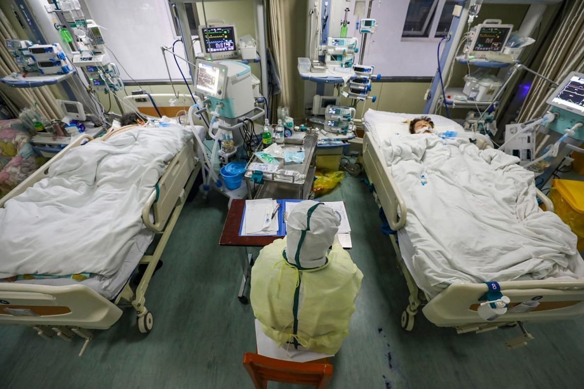 A medical staff working in the isolated intensive care unit in a hospital in Wuhan, Hubei province, on Feb 6, 2020.