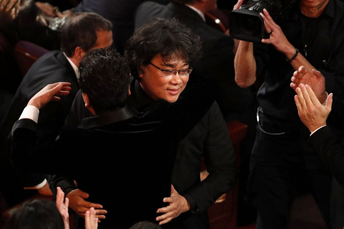 South Korean director Bong Joon-ho wins the Oscar for Best Picture for Parasite at the 92nd Academy Awards in Hollywood on Feb 9, 2020.