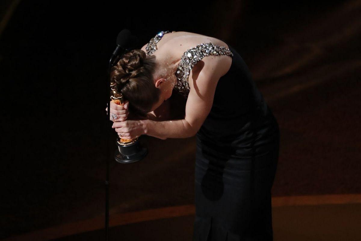 Hildur Gudnadottir on stage for winning Best Original Score for the movie Joker at the 92nd Academy Awards.