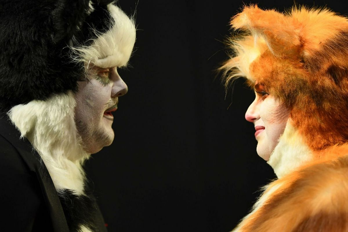 James Corden and Rebel Wilson in cat costumes during the 92nd Annual Academy Awards at the Dolby Theatre on Feb 9, 2020.