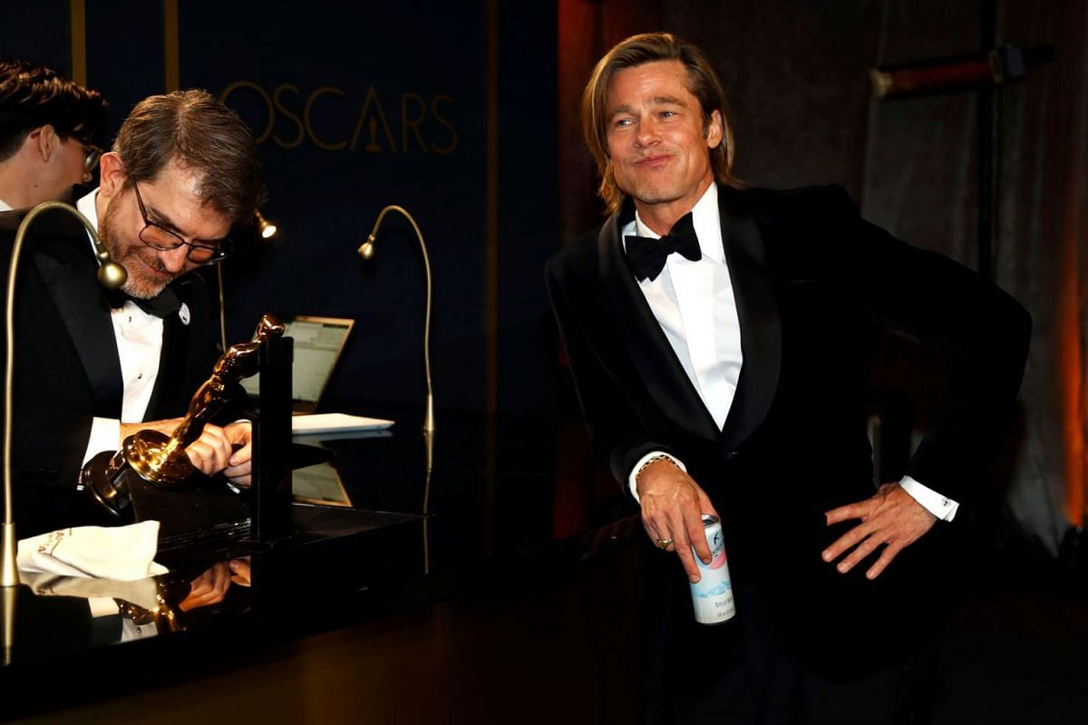 Best Supporting Actor Brad Pitt waits for his Oscar statue to be engraved at the Governors Ball following the 92nd Academy Awards in Los Angeles, California, U.S., February 9, 2020. PHOTO: REUTERS