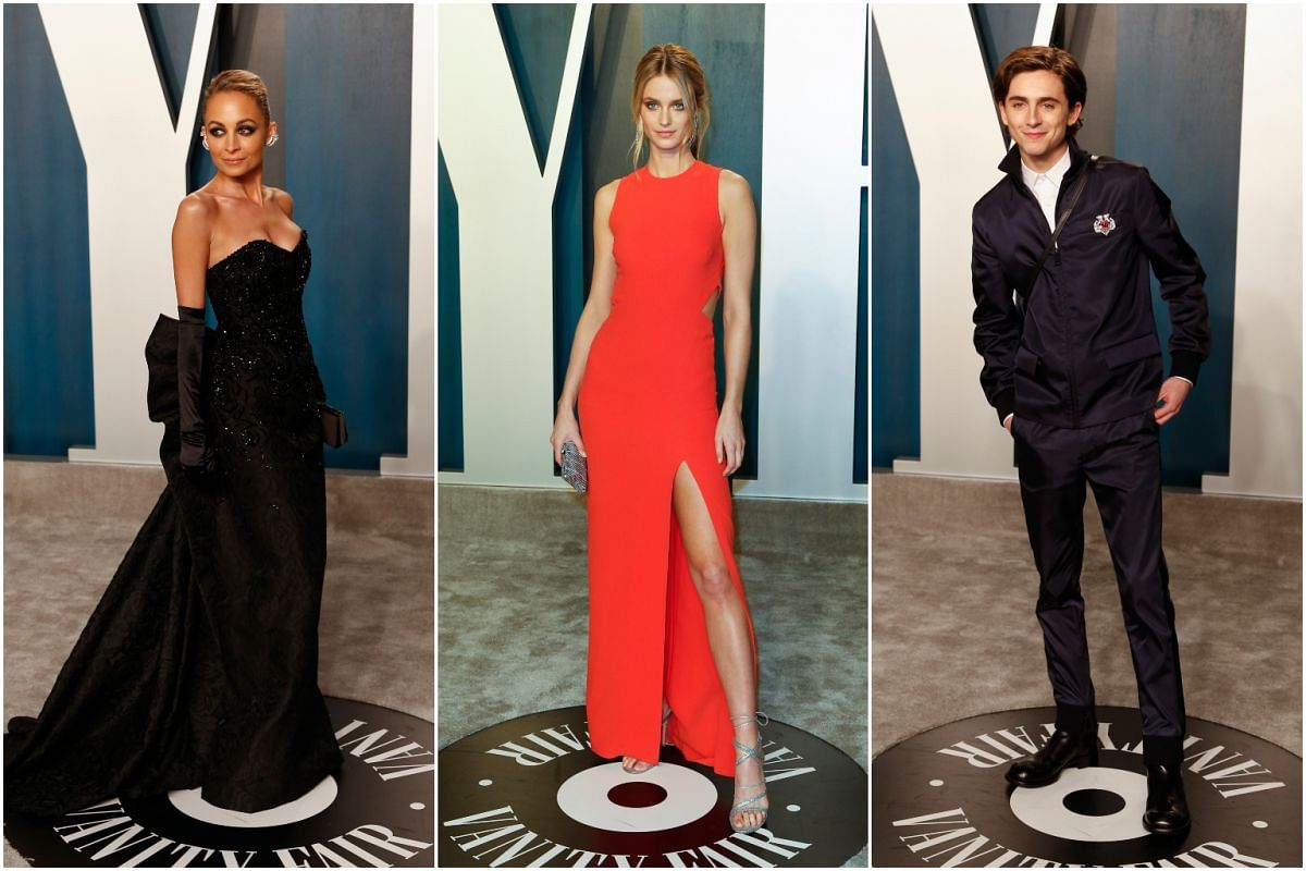 Nicole Richie (left), Kate Bock and Timothee Chalamet at the Vanity Fair Oscar Party in Beverly Hills on Feb 9, 2020.