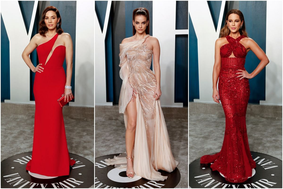 Comedienne Whitney Cummings (left), model Barbara Palvin and actress Kate Beckinsale at the Vanity Fair Oscar party on Feb 9, 2020.