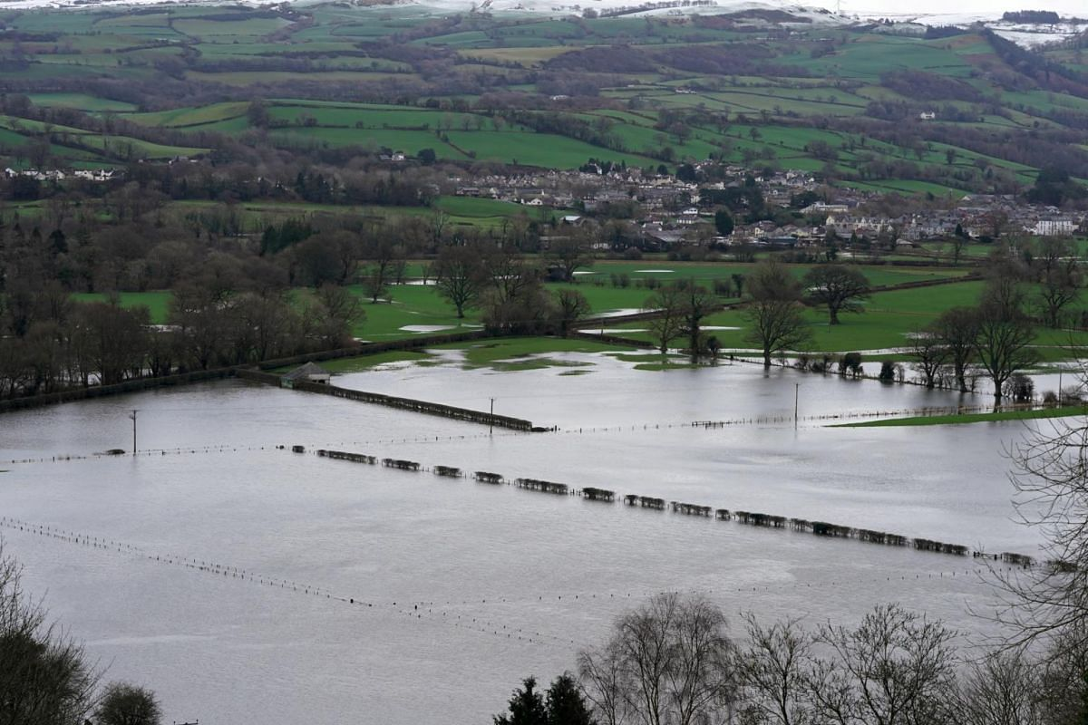Floodwaters seen near Llanrwst in North Wales, after Storm Ciara lashed through Britain on Feb 10, 2020.