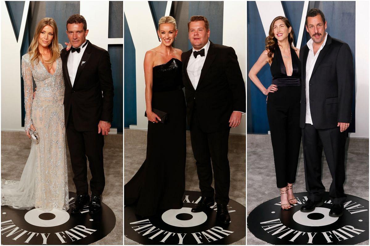 (From left) Actor Antonio Banderas with girlfriend Nicole Kimpel, comedian James Corden with wife Julia Carey, and actor Adam Sandler with wife Jackie Sandler.