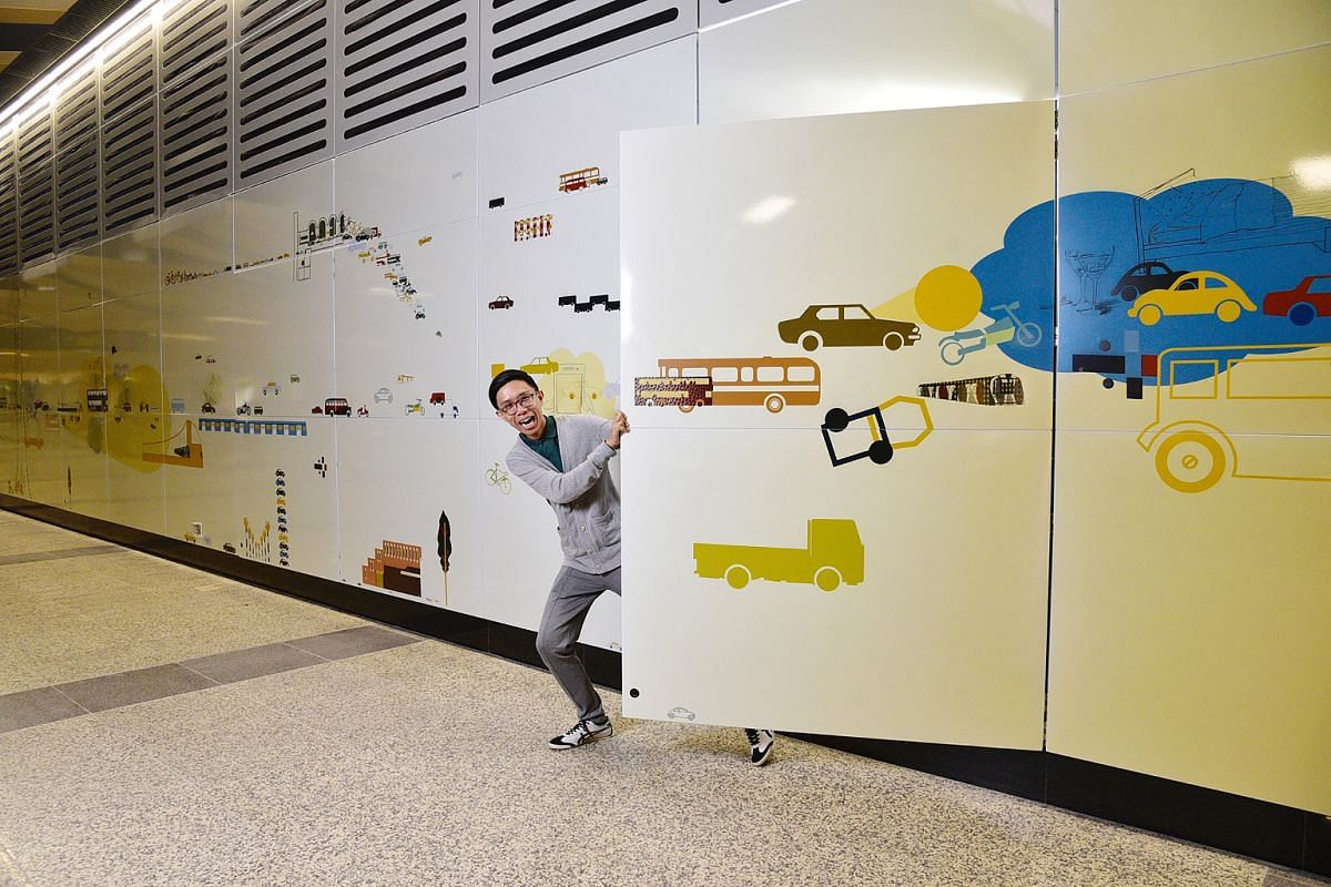 Artist Terence Lin's The Day's Thoughts Of A Homespun Journey Into Night spans two walls in Woodlands station and features illustrations of cars, buses and other vehicles en route to their destinations.