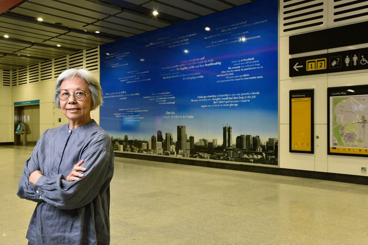 Artist Amanda Heng (above) explores the theme of personal boundaries in New Departures, which consists of a collection of 30 quotes set against images of the sky on two walls, above panoramic shots of the Singapore and Johor Baru skylines.