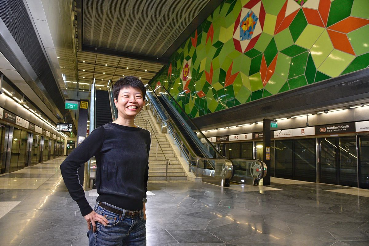 Kng Mian Tze (above) asked 50 Woodlands residents to each make a promise to himself and create a drawing representing that promise, and incorporated them into the artwork at Woodlands South station.