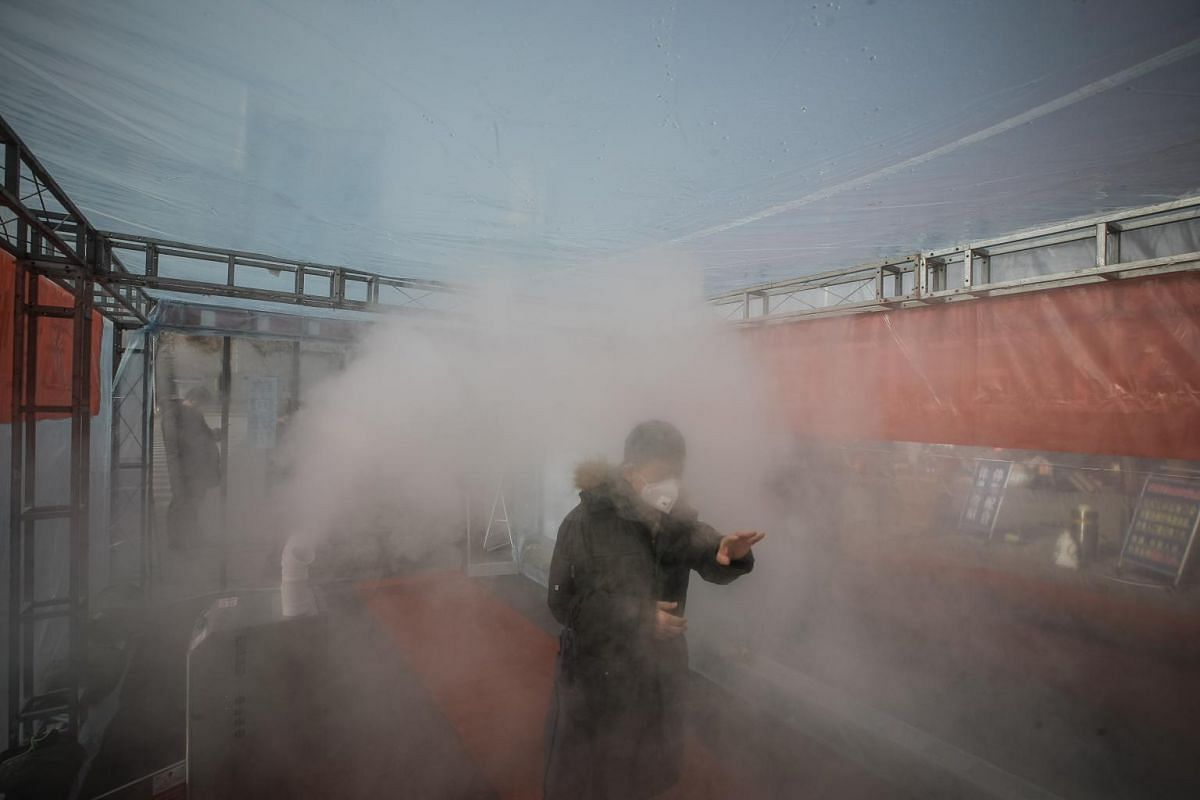 A resident walking through disinfectant spray on his way homen home in north China's Tianjin Municipality on Feb 11, 2020.