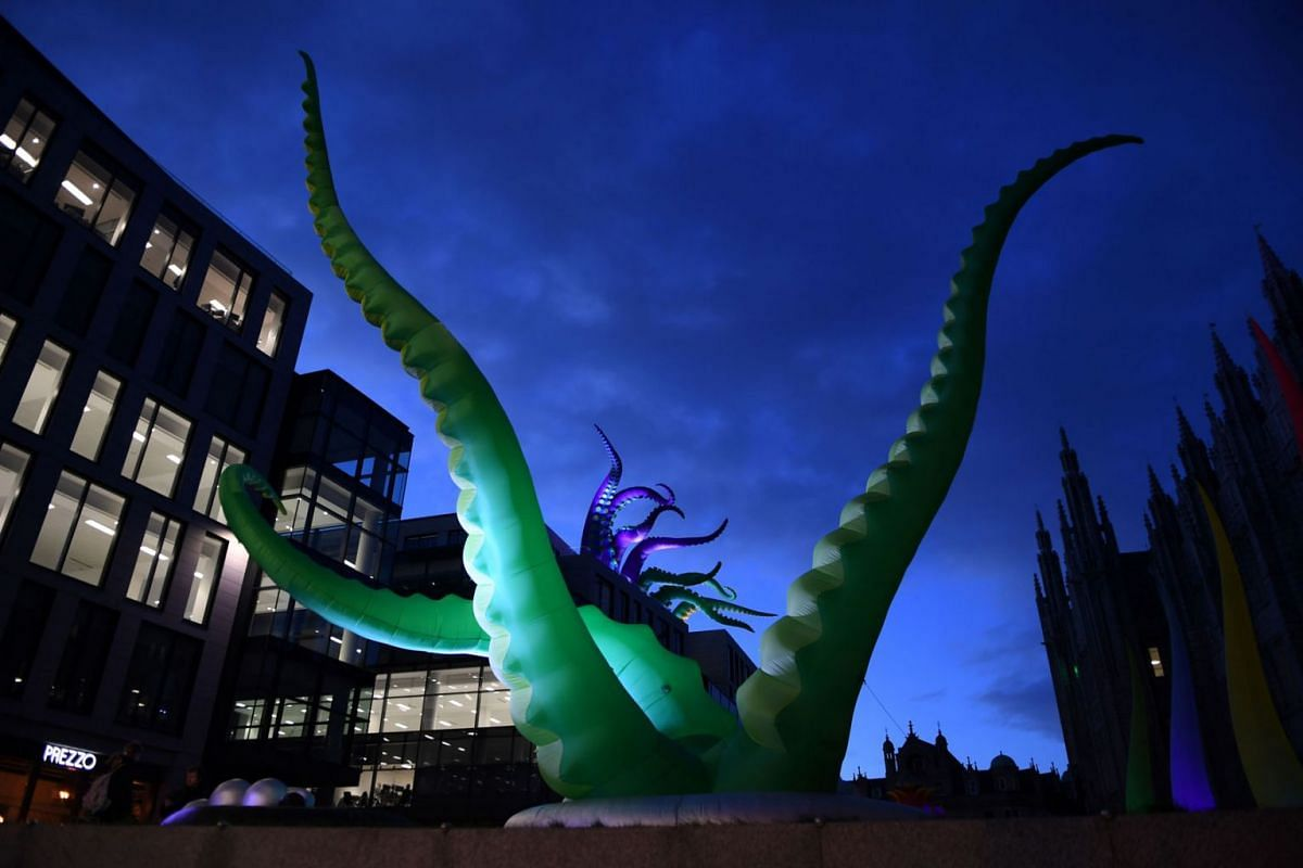 Light installation, Creatures of the Deep by artists Designs in Air is pictured during a preview of the Spectra light festival in Aberdeen, Scotland on February 12, 2020. PHOTO: AFP