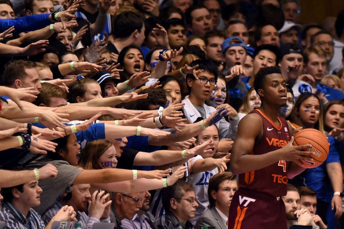 Virginia Tech Hokies guard Nahiem Alleyne (4) attempts to inbound the ball as Duke Blue Devils guard Cassius Stanley (2) defends during the second half at Cameron Indoor Stadium at Durham, North Carolina, USA on Feb 22, 2020. PHOTO: USA TODAY SPORTS