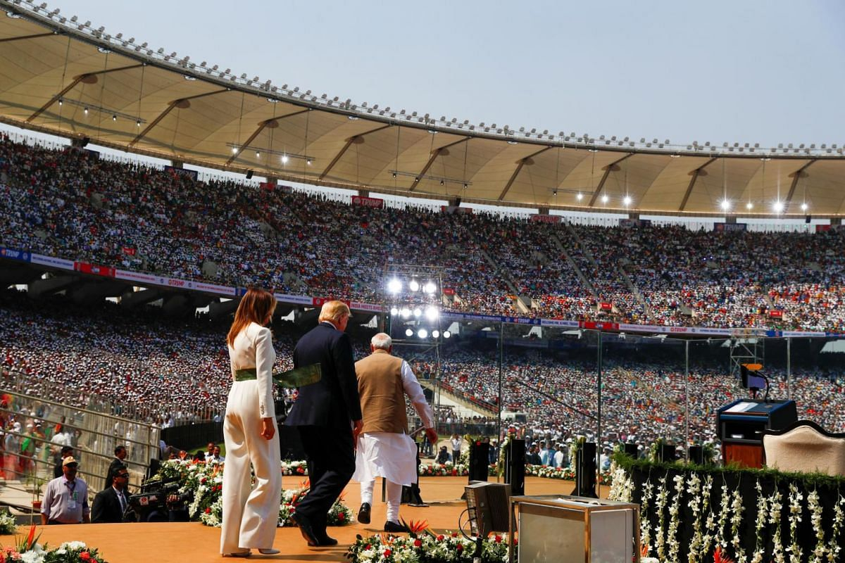 "(From left) First lady Melania Trump, US President Donald Trump and Indian Prime Minister Narendra Modi attend a ""Namaste Trump"" event during Trump's visit to India, at Sardar Patel Gujarat Stadium, in Ahmedabad, India, on Feb 24, 2020."