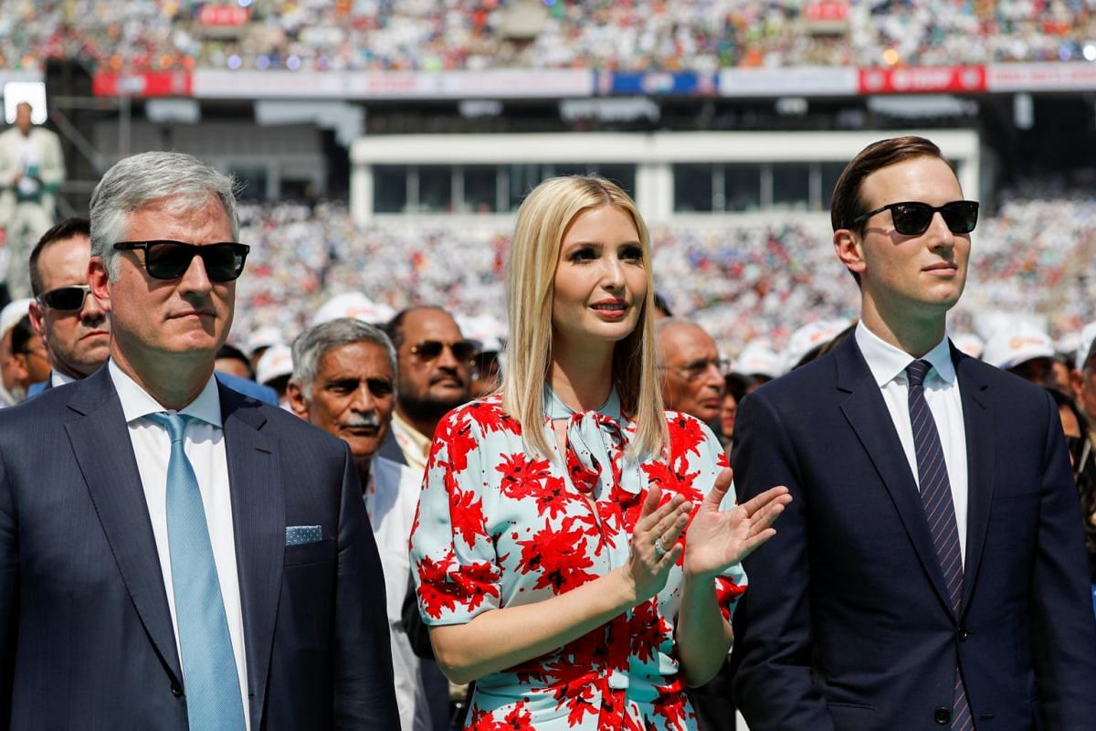"(From left) National Security Advisor Robert O'Brien, US White House senior advisors Ivanka Trump and Jared Kushner, attend a ""Namaste Trump"" event during Trump's visit to India, at Sardar Patel Gujarat Stadium, in Ahmedabad, India, on Feb 24, 2020."