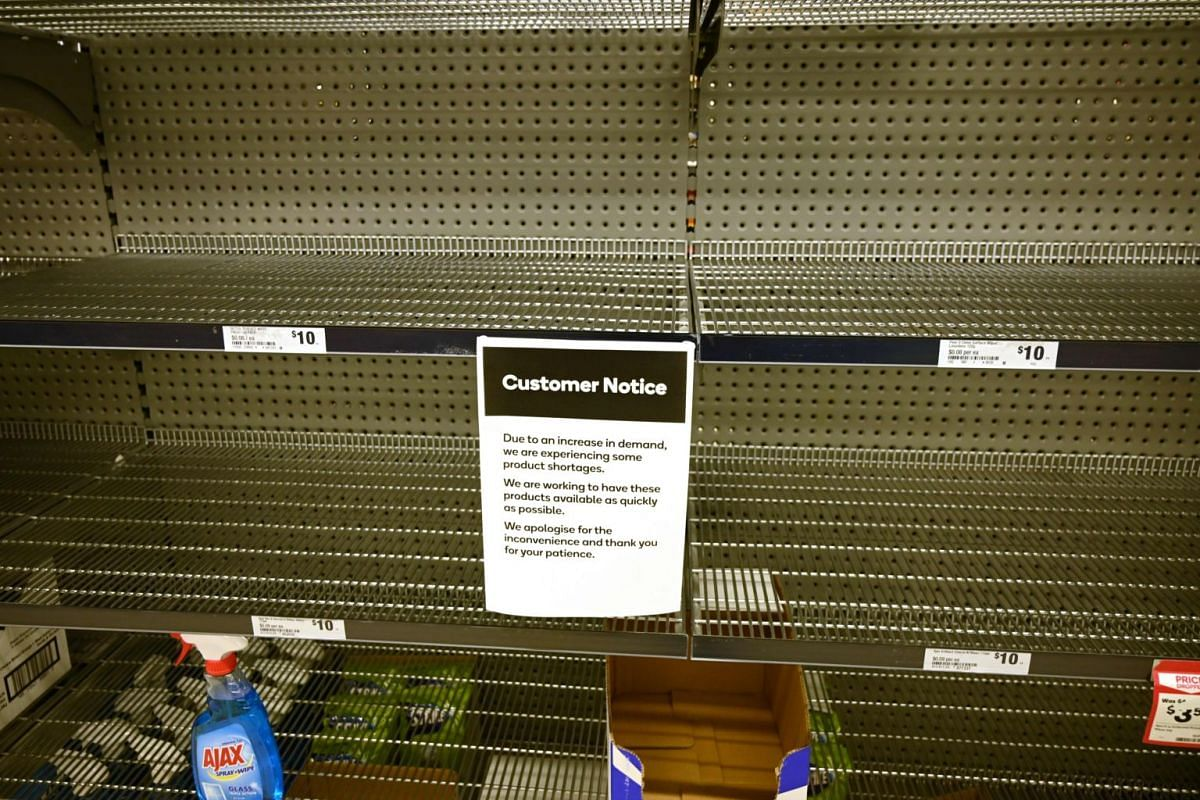 Shelves are empty of hand sanitiser in a supermarket in Sydney on March 4, 2020.