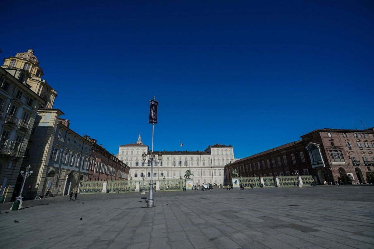 The empty Castle Square in Turin, Italy, on March 4, 2020.