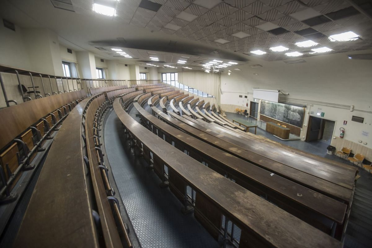 An empty classroom at Sapienza University of Rome on March 4, 2020.