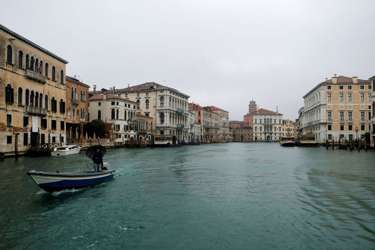 An empty canal  in Venice on March 1, 2020, after the spread of coronavirus caused a decline in tourist visits.