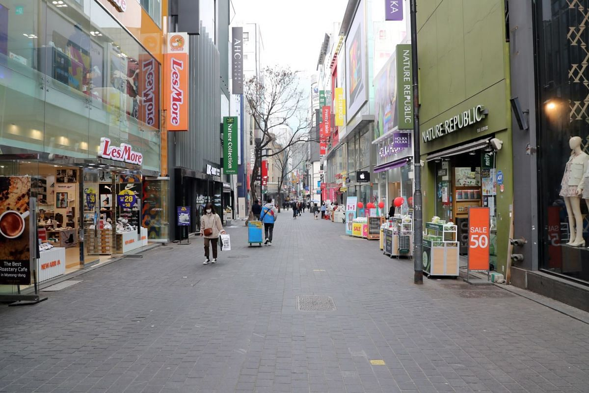 A near-empty street in Myeongdong, a popular tourist and shopping district in Seoul, on March 3, 2020.