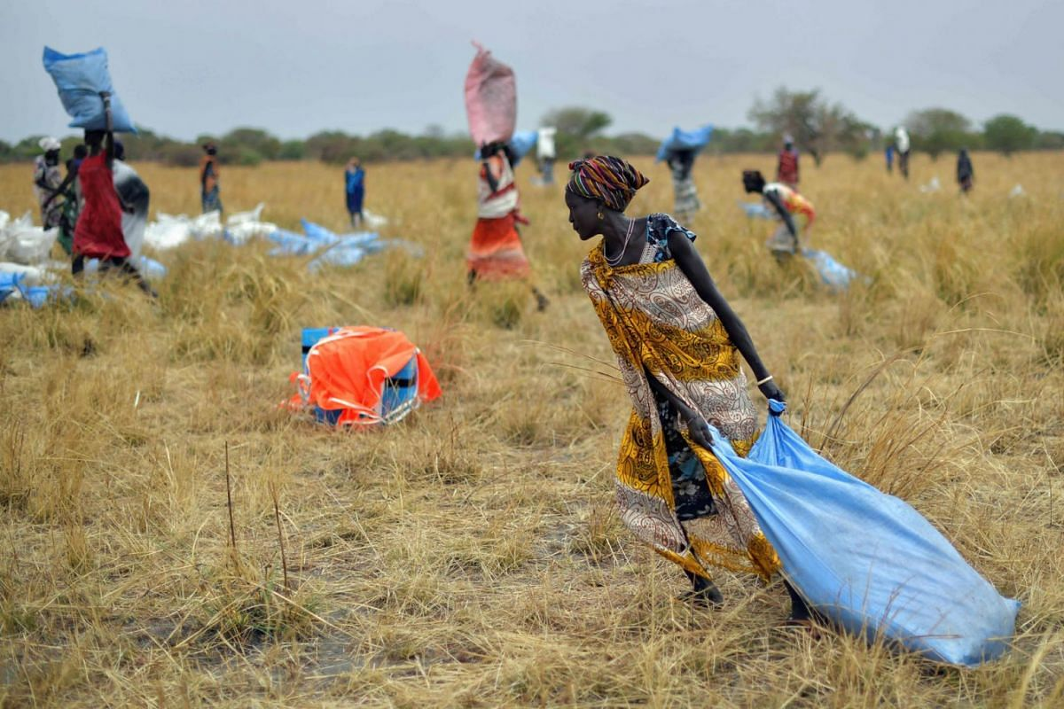 A photo issued on Mar 9, 2020, shows villagers collecting food aid in gunny bags  dropped from a plane onto a drop zone at a village in Ayod county, South Sudan, where World Food Programme (WFP) have just carried out a food drop of grain and suppleme