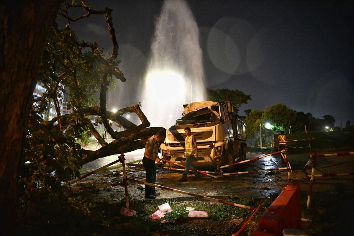 A 35-year-old driver was taken to hospital after his tipper truck crashed into a fire hydrant and a tree at the junction of Tampines Avenue 1 and Avenue 4 in the early hours of Wednesday morning on March 11, 2020. PHOTO: THE STRAITS TIMES/ARIFFIN JAM