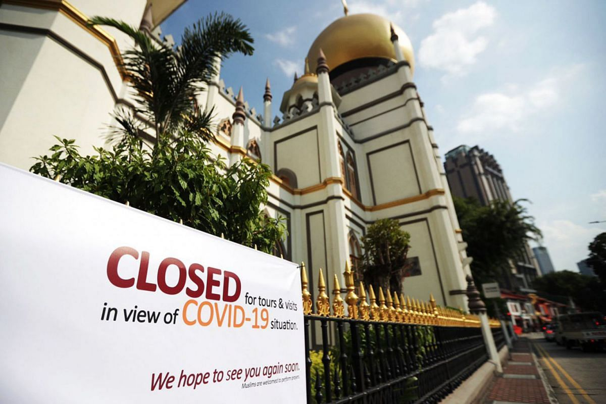 All 70 mosques in Singapore will be closed for five days, starting March 13, 2020, for a thorough cleaning to prevent the emergence of a Covid-19 cluster. Notices of closure have been put up in mosques such as  Masjid Sultan as seen in a photo taken