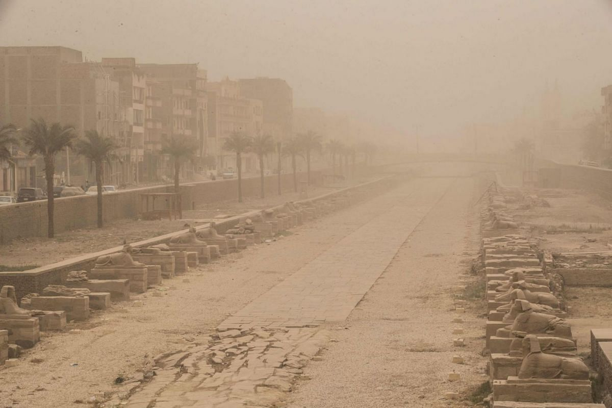 A picture taken on March 12, 2020 shows the avenue of Sphinxes (Rams Avenue) during a sandstorm at the Karnak complex in Egypt's southern city of Luxor. PHOTO:  AFP