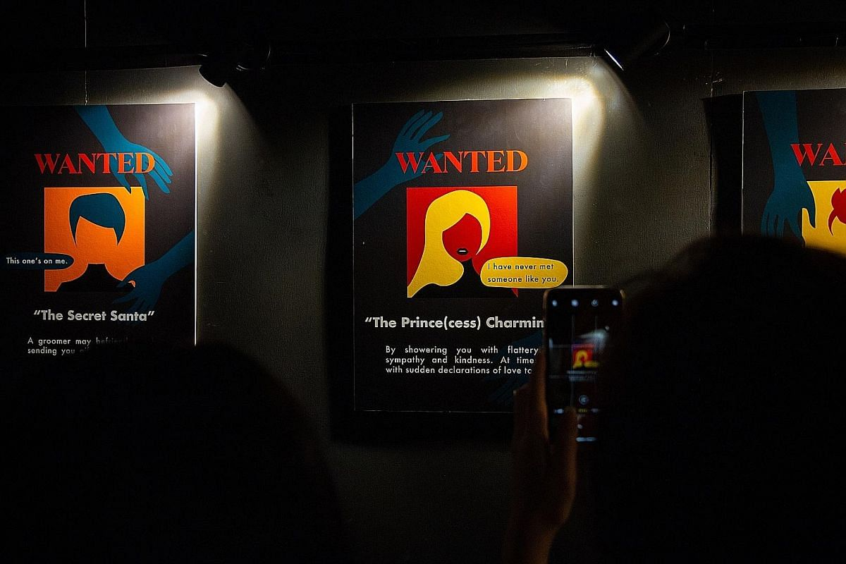 An ongoing exhibition (above) at the National Library allows visitors to step into the shoes of an online grooming victim.