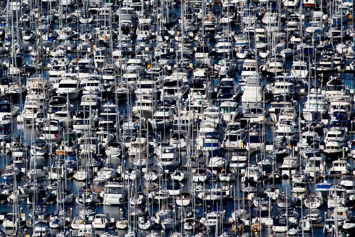 Hundreds of boats sit docked at the Elliott Bay Marina in Seattle, Washington, on March 16, 2020.