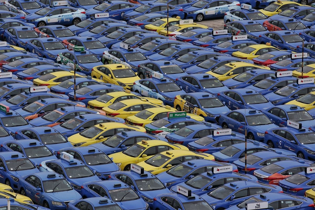 The rooftop of STA Vehicle Inspection Centre packed with taxis from ComfortDelGro as seen on March 6, 2020.