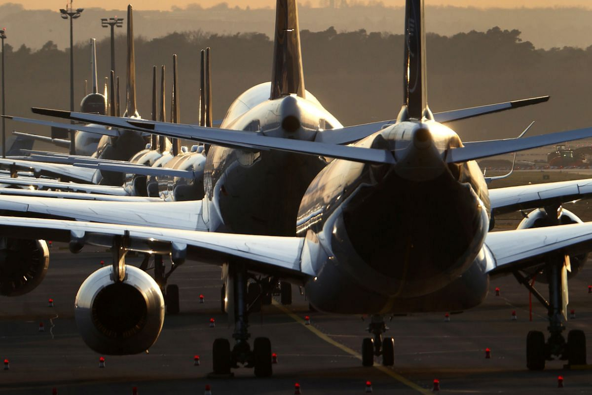 Air planes of German carrier Lufthansa are parked at the airport in Frankfurt, Germany, on March 16, 2020.