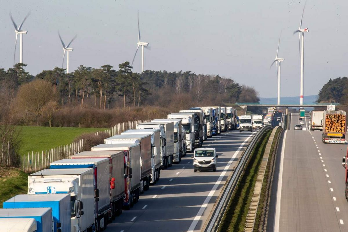A 10 km queue of trucks stuck on the A12 motorway near the Polish-German border from outside the eastern German town of Frankfurt on March 16, 2020.