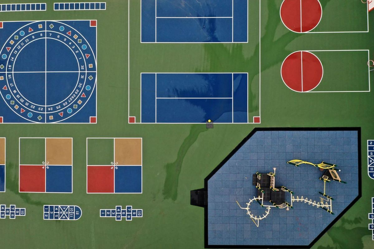 An aerial view of the schoolyard at Frank McCoppin Elementary School on March 18, 2020 in San Francisco, California. As millions of Americans shelter in place in an attempt to slow the spread of the coronavirus, schools across the country are being c