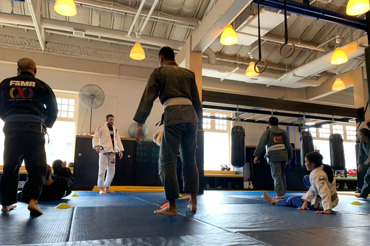 A Brazilian jiu-jitsu (BJJ) class at FaMA gym on March 21, 2020. BJJ is a contact sport, but in the light of the new social-distancing rules, the gym has modified its class curriculum to drill exercises instead to ensure minimal contact.