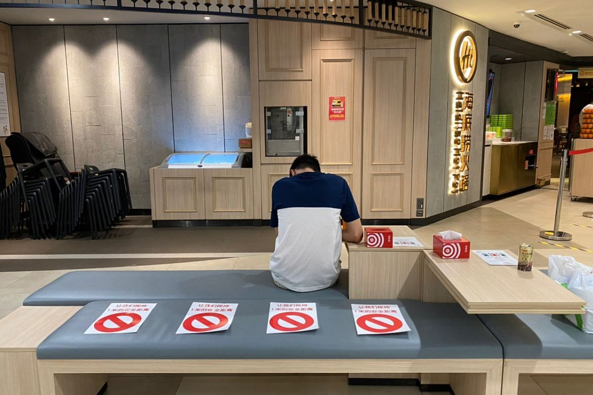 Steamboat restaurant Haidilao in Plaza Singapura has marked seats that should not be used on March 21, 2020.