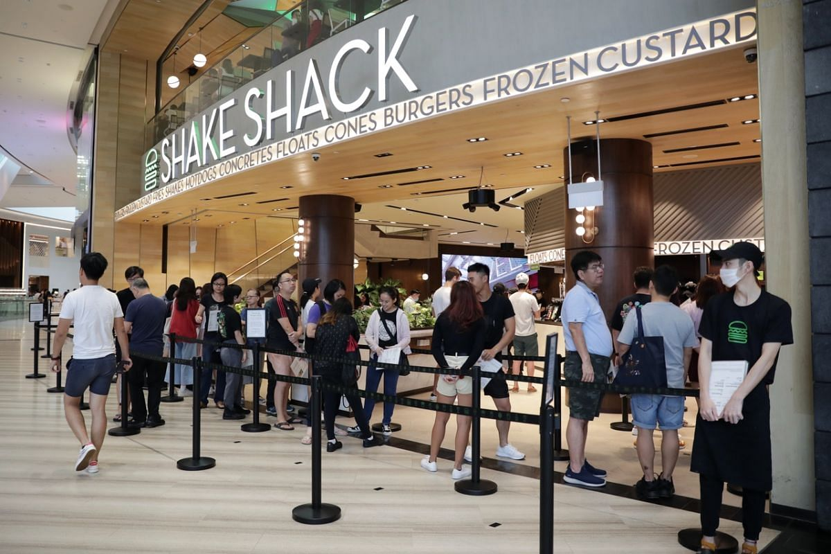 Social distancing at Shake Shack in Jewel Changi Airport on March 21, 2020.