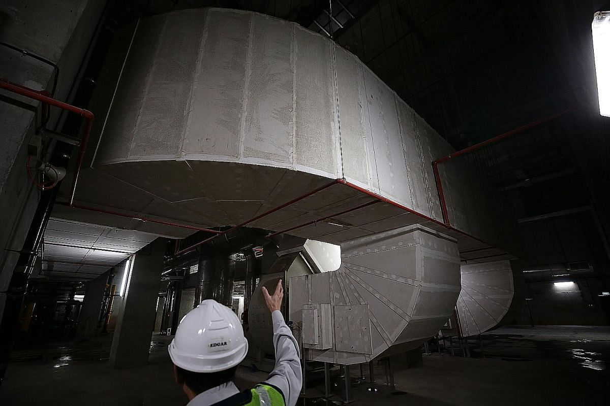 The mechanical ventilation system in the basement of the liquid treatment module of Changi WRP is used to keep the basement well-ventilated by drawing out air and pushing fresh air into the basement. The main control room in the Changi plant is the h