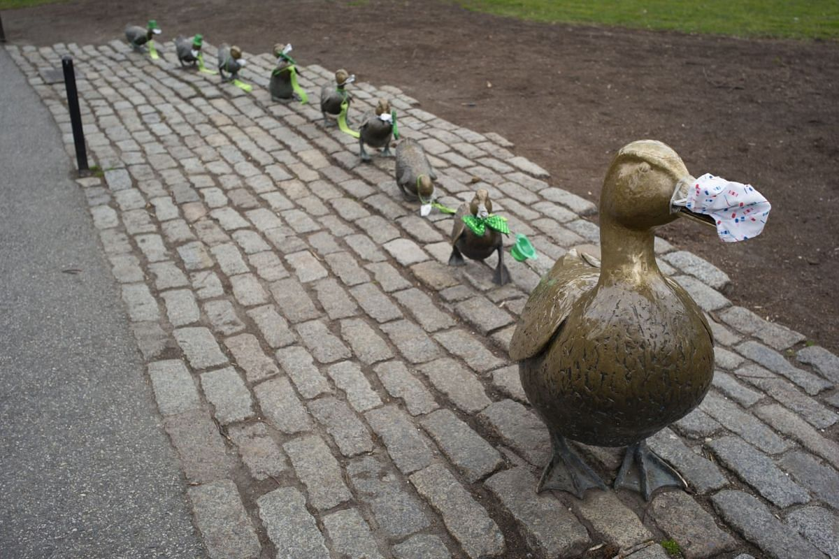 The Make Way for Ducklings statues in Boston Public Gardens are adorned with surgical masks and St Patrick's Day attire in Boston, Massachusetts, on March 23, 2020.
