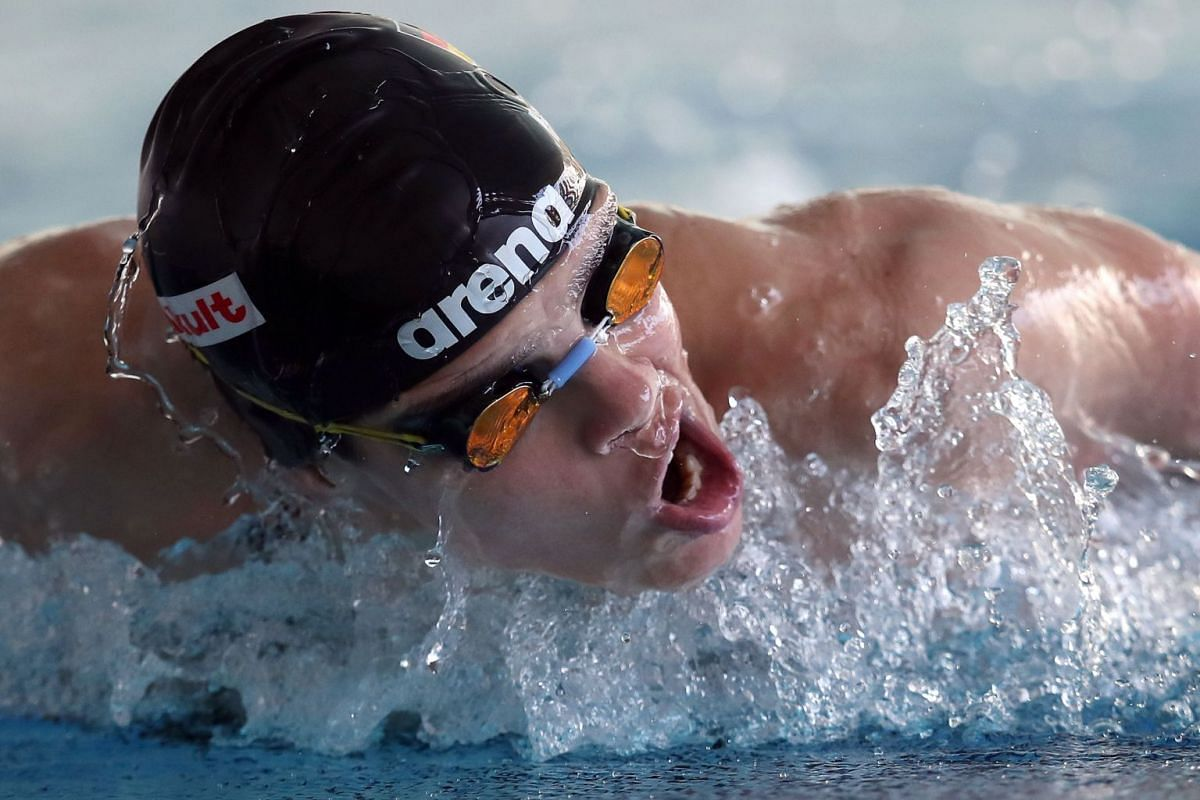 German swimmer Franziska Hentke trains at the Federal Base of the German Swimming Association in Magdeburg, eastern Germany, on March 24, 2020.