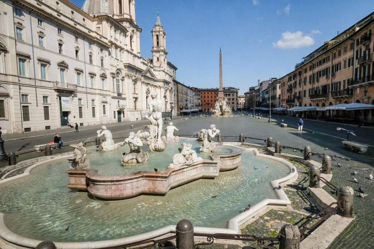 A view of a deserted Piazza Navona in central Rome, on March 24, 2020.