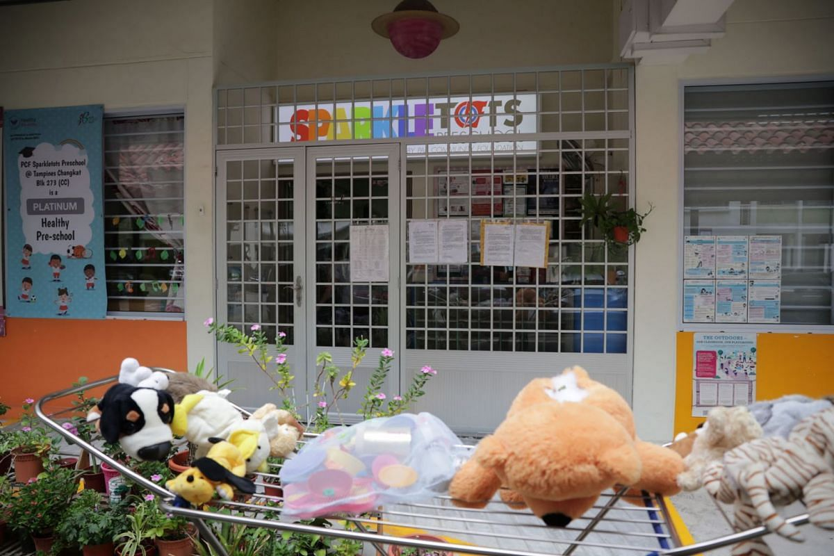 Stuffed toys left to sun are seen outside the PCF Sparkletots Preschool at Blk 273 Tampines Street 22 on March 26, 2020. All 360 centres under PAP Community Foundation (PCF) will close for four days from Thursday (March 26) after 18 Covid-19 cases we