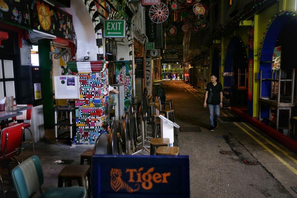 Bar Piedra Negra along Haji Lane was closed at midnight on March 27, 2020.