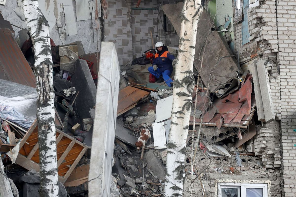 A dog gets out of the debris of an apartment block, which partially collapsed after an apparent gas explosion, in the town of Orekhovo-Zuyevo near Moscow, Russia April 4, 2020. PHOTO: REUTERS