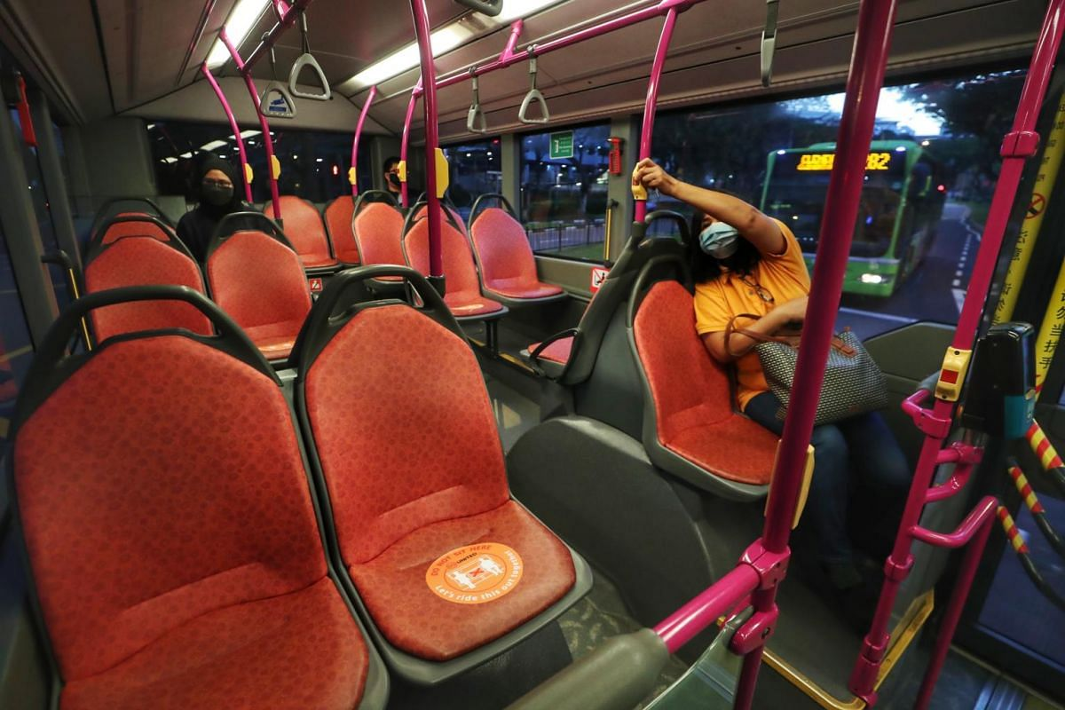 Social distancing stickers on bus seats on April 11, 2020
