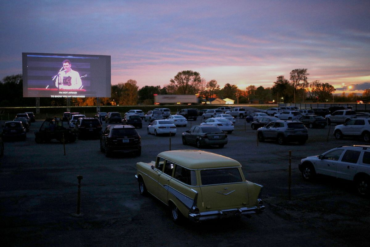 Victory Hill Church holds an Easter vigil service at a drive-in movie theater in Kentucky on April 11, 2020.