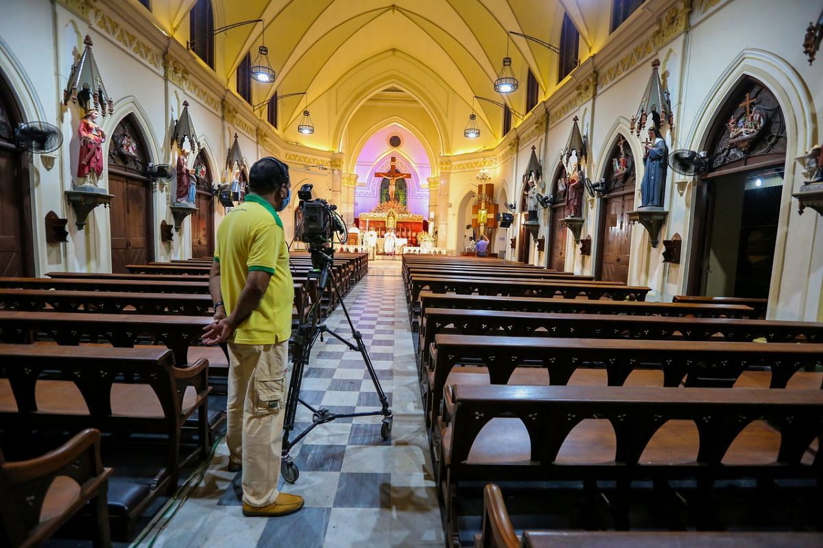 Archbishop of Colombo Cardinal Malcolm Ranjith conducts an Easter service at the almost deserted All Saints' church during an island-wide curfew, in Colombo, Sri Lanka, on April 11, 2020. Due to the coronavirus crisis, the service was broadcast live