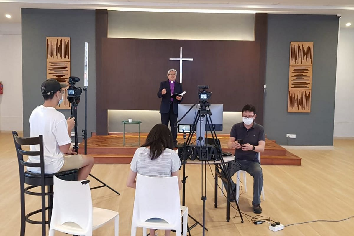 Bishop Chong Chin Chung of The Methodist Church in Singapore records his Easter message on April 6, 2020,for members to participate from home.