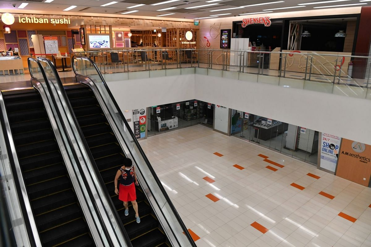 Shuttered shops with the exception of essential services at Clementi Mall on April 28, 2020.
